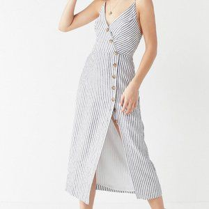 urban outfitters striped v-neck button down dress